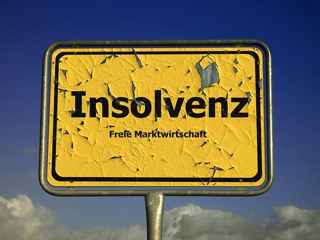 Značka s nápisem Insolvenz