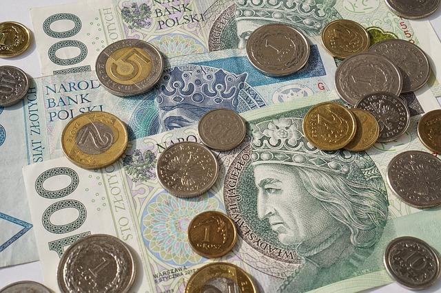 polské peníze, mince, bankovky